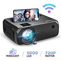 Wi-Fi Mini Projector, Upgraded 5000 Lux, Bomaker Portable Outdoor Movie Projector, Full HD 1080P Supported, Wireless Screen Mirroring and Miracast, for iOS/Android / Laptops/ PCs/ Window