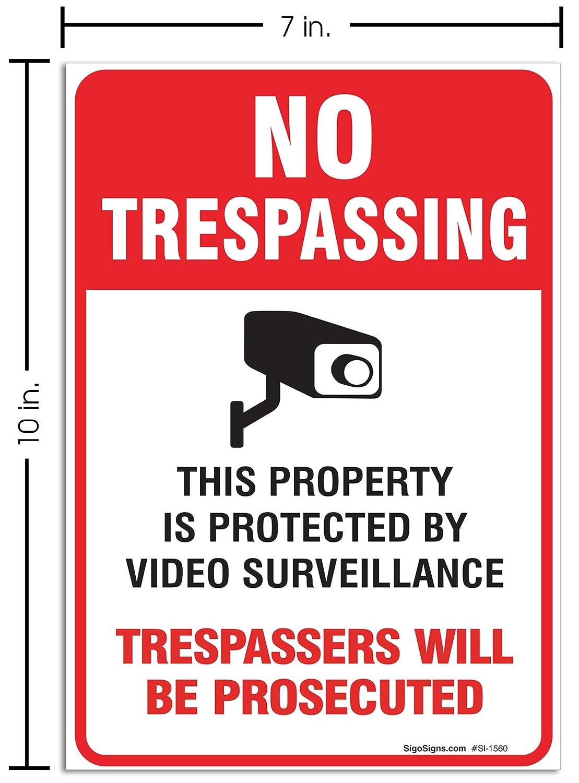 (2 Pack) No Trespassing Sign Video Surveillance Sign, 10x7
