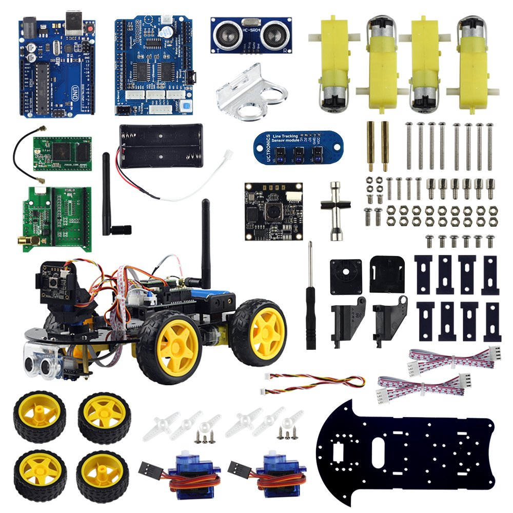 UCTRONICS WIFI Smart Robot Car Kit for Arduino with Real Time Video Camera, Ultrasonic Sensor, Line Tracking, WIFI Module Remote Controlled by Android & IOS App