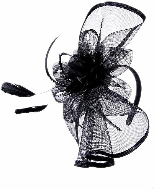 Large Headband and Clip Hat Black /& White Fascinator Weddings Race Royal Ascot