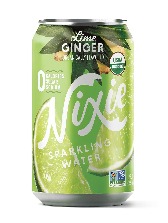 Nixie Sparkling Water, Lime Ginger   12 fl oz cans, 24 pack   Organic, Non-GMO, 0 Calories, 0 Sugar, 0 Sodium