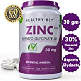 Healthyhey Nutrition Zinc Glycinate Essential Trace Mineral - 30Mg - 120 Vegetable Capsules