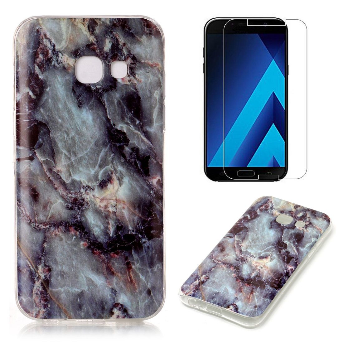 for Samsung Galaxy J7 Prime Marble Case with Screen Protector, OYIME Creative Glossy Purple & White Marble Pattern Design Protective Bumper Soft Silicone Slim Thin Rubber Luxury Shockproof Cover