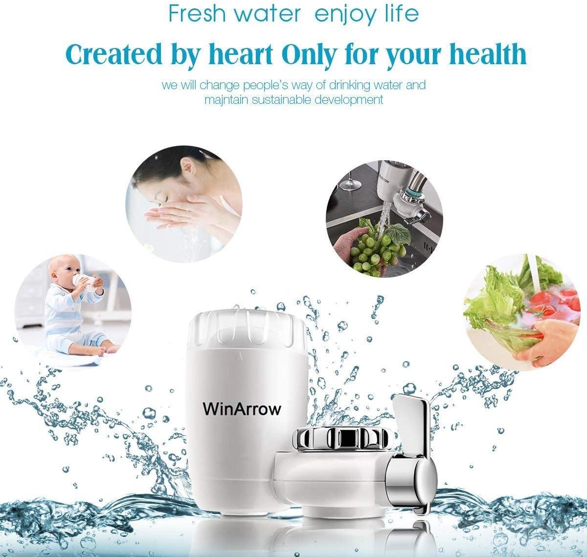 WinArrow- Filtro de Agua Para Grifo, KDF55 Filtro de Grifo con Tecnología GAC Filtro de Cerámica de Alta Precisión para Cocina / Baño: Amazon.es: Hogar
