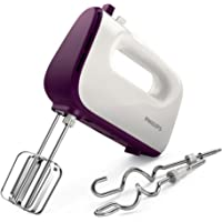 Philips HR3740/11 Viva Collection Hand Mixer -White/Deep Purple, 400W, Stainless Steel Hooks, 5 speeds + turbo, Double…