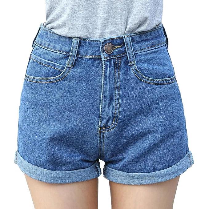 Minetom Mujeres Moda Pantalones Cortos Vintage Denim Cortocircuitos Verano Atractivos Mini Cintura Alta Engaste Shorts Vaqueros