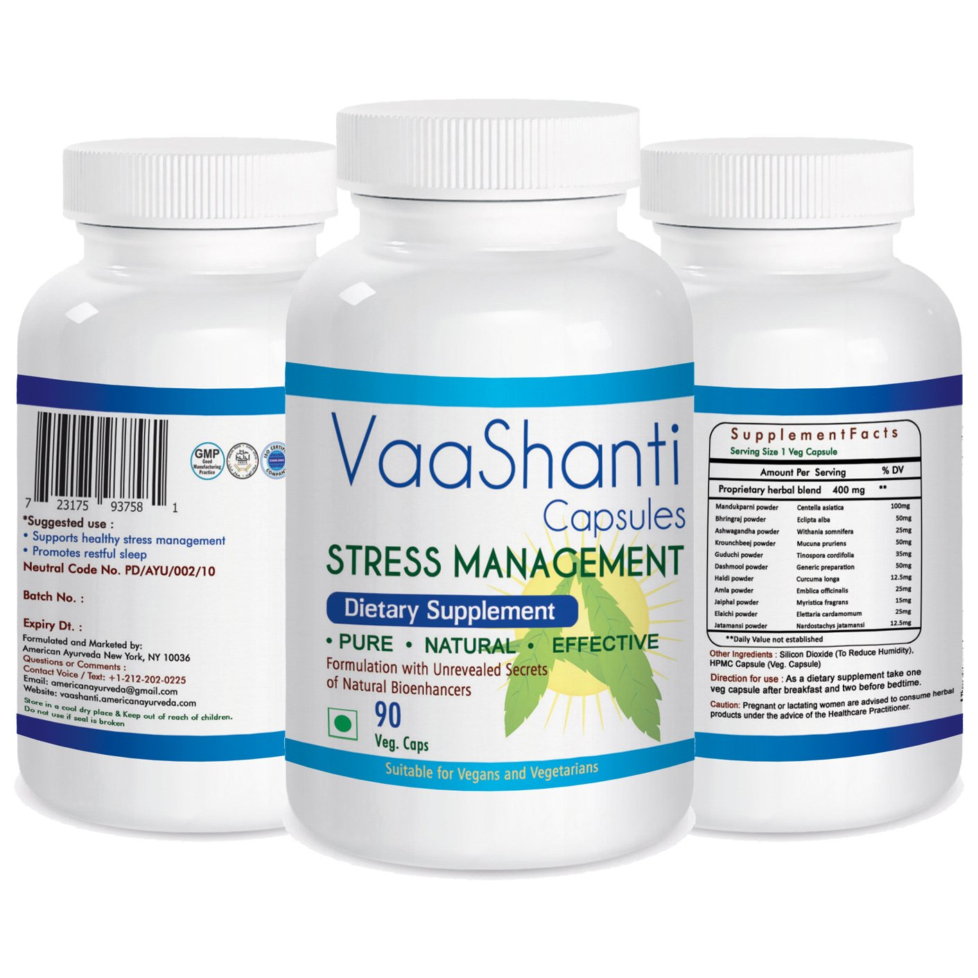 VaaShanti Herbal Sleep Aids & Stress Relief 90 Veggie Capsules with Proven Herbs Ashwagandha, Brahmi & more - Deep, Sound Sleep, Wake up Refreshed - Non Habit forming Supplement by American Ayurveda