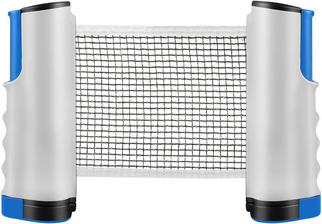 Tencoz Red de Tenis de Mesa, Red Ajustable de Ping Pong Repuesto Portátil Retráctil Table Tennis Net - Ping Pong Net para Entrenamiento Abrazaderas, Longitud Ajustable 200 (MAX) x 14.5cm