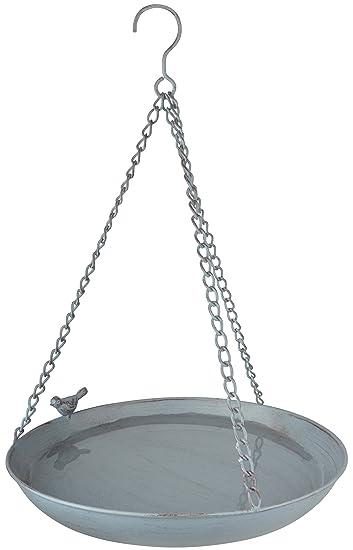 Esschert Design Grey Metal Vogeltränke, hängend, aus dem Material ...