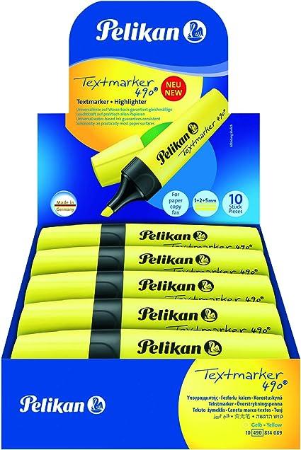 Pelikan Premium Textmarker Rotuladores fluorescentes, paquete de ahorro 10 piezas, amarillo, hecho en Alemania, set escolar, oficinas - 940379A: Amazon.es: Belleza