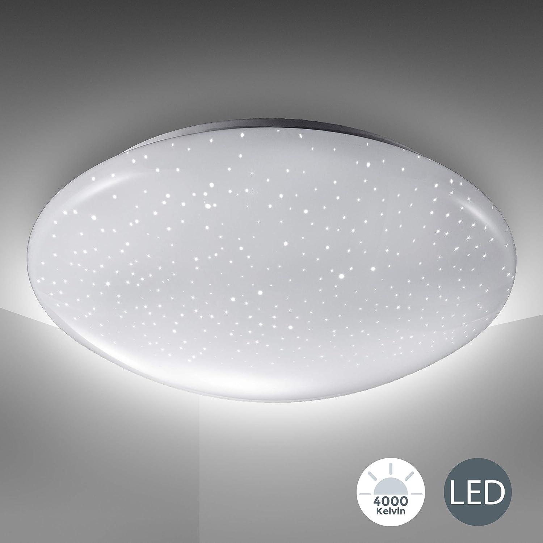 Lámpara de techo LED, decoración de cielo estrellado, lámpara de techo con luz blanca 4.000K 1.200lm, Ø28cm, LED integrado de 12W, lámpara de salón o dormitorio de bajo consumo, plástico, IP20