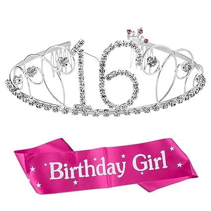 ZWOOS Cristal Cumpleaños Corona Princesa Feliz Cumpleaños de Número 16 Accesorios con Peine Faja de Cumpleaños para Suministros para Fiestas de Feliz ...