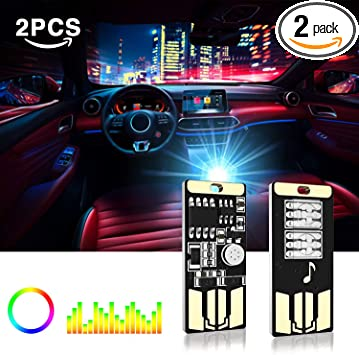 Blue USB Flexible Wireless Neon Ambient LED light For Car Interior Decoration