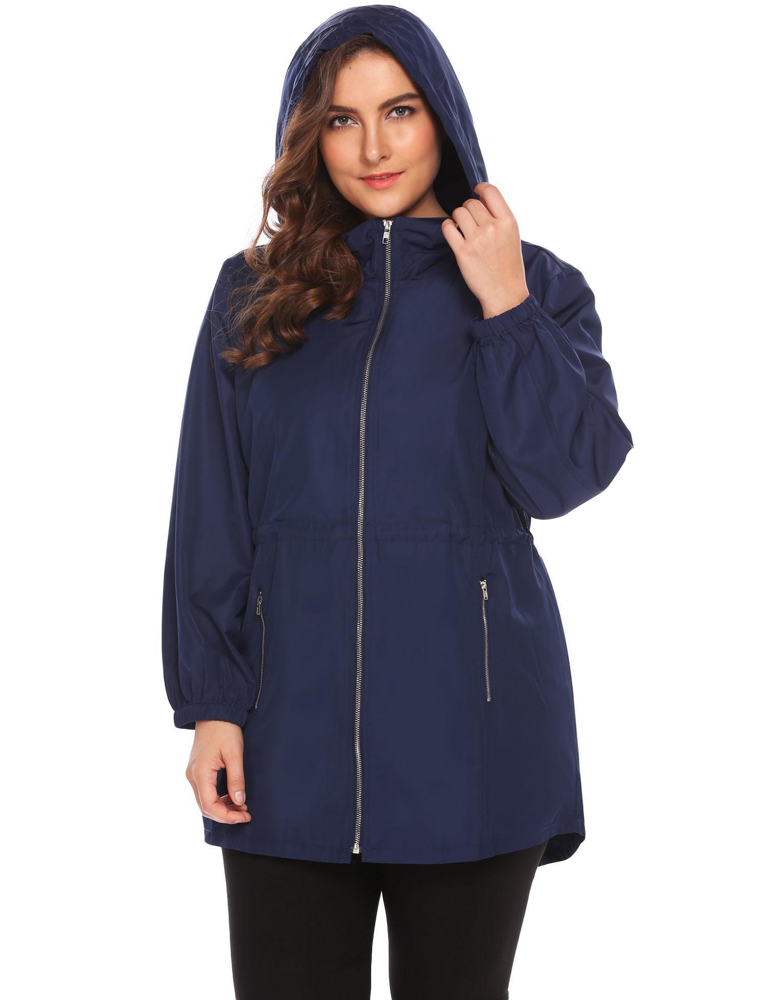 Involand Plus Size Lightweight Windbreaker Raincoat Travel Hoodie Rain Jacket Windproof Hiking Portable Waterproof Coat