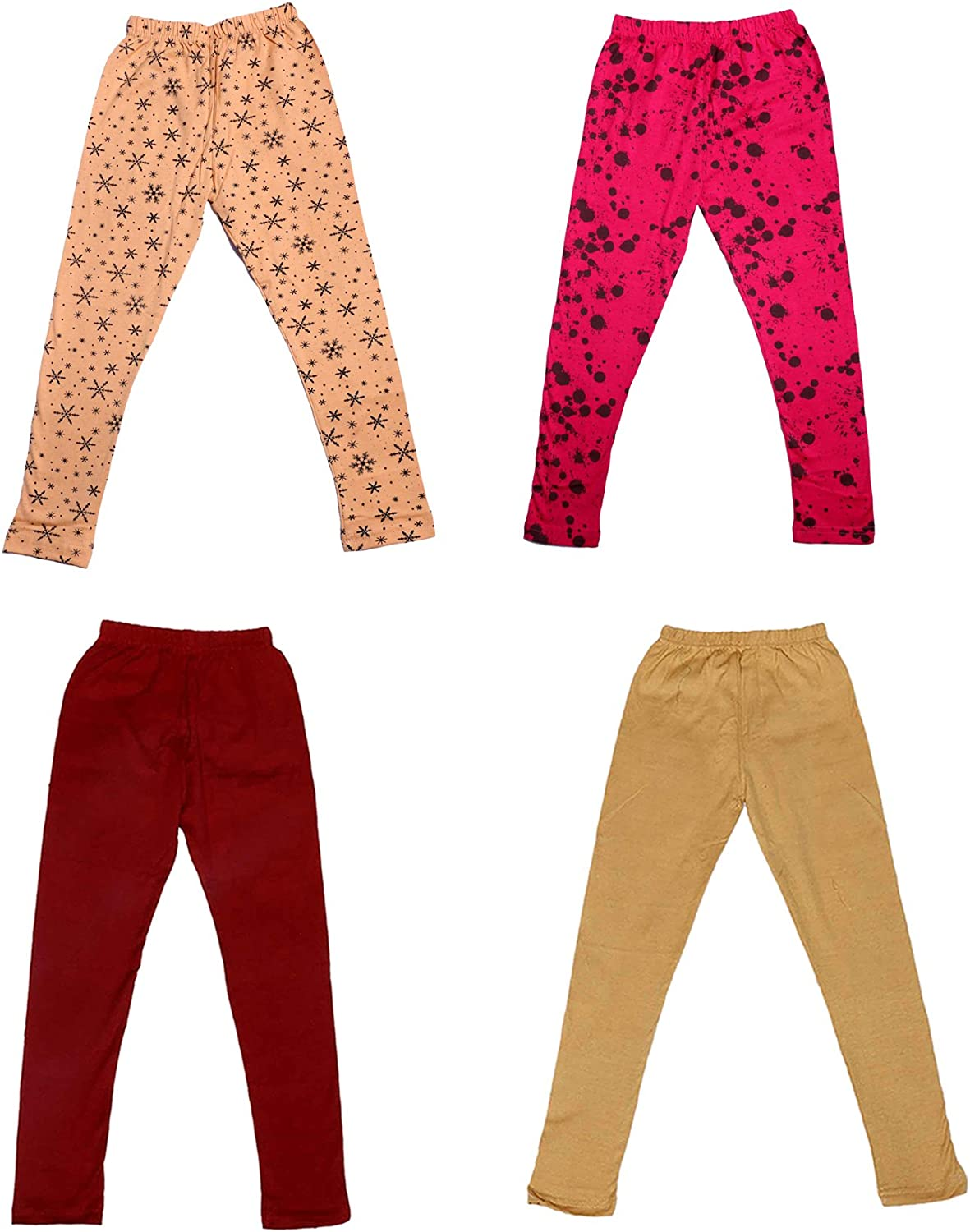 /_Multicolor/_Size-5-6 Years/_71400011920-IW-P4-28 Pack Of 4 and 2 Cotton Printed Legging Pants Indistar Girls 2 Cotton Solid Legging Pants