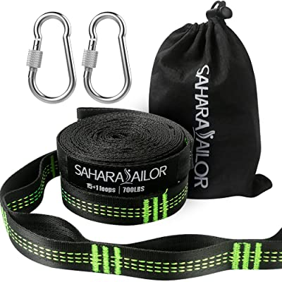 Sahara Sailor Hammock Straps XL (Set of 2), Adjustable Hammock Tree Hanging Straps 1400+ LBS Heavy Duty Non-Stretch Suspension System Kit (2 Stainless Steel Carabiners Included): Garden & Outdoor