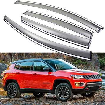 4-Piece Set for/2019 Jeep Compass Auto Ventshade 194346 in-Channel Ventvisor Side Window Deflector