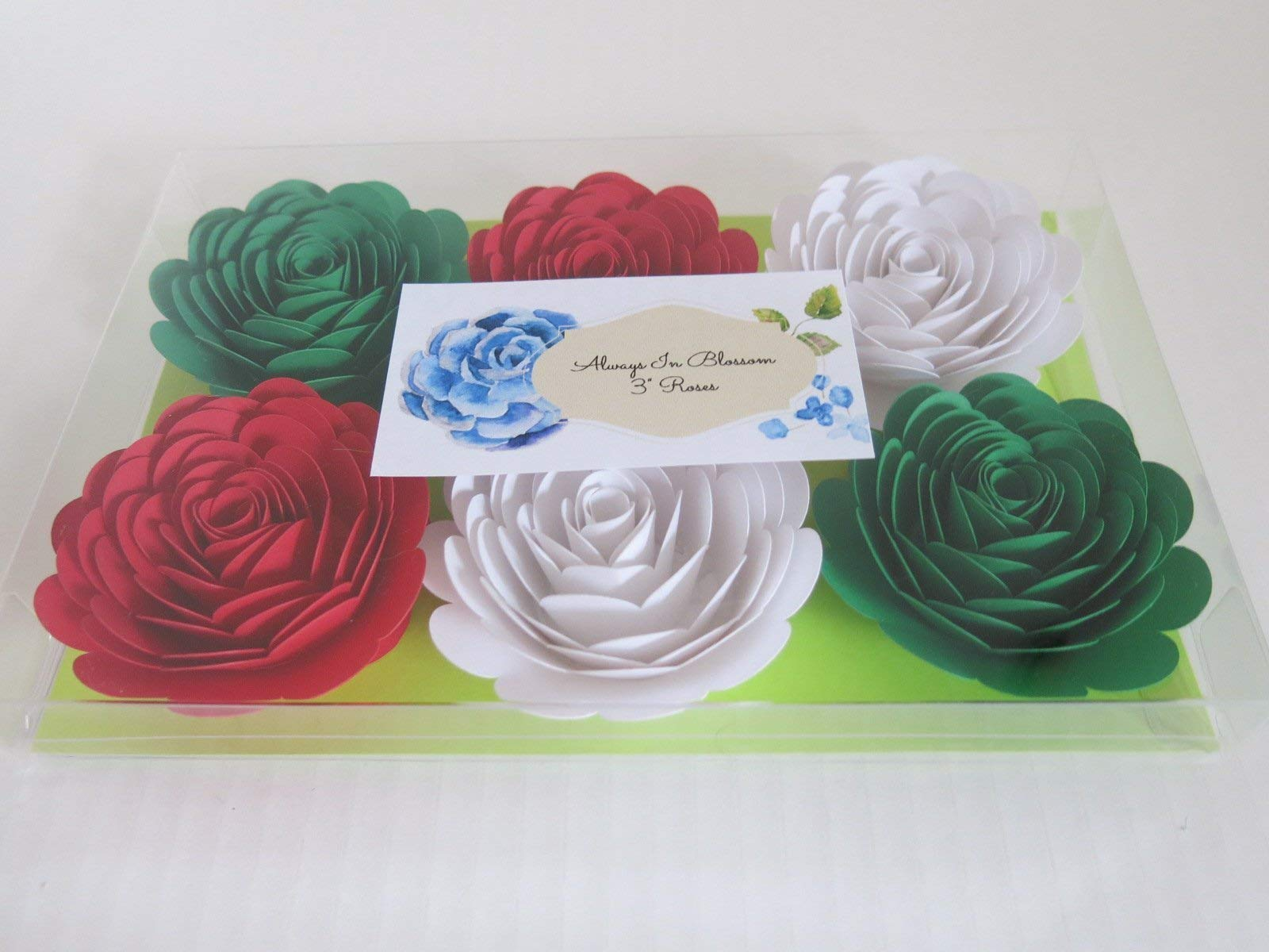 Red-White-Green-Mexican-Color-Roses-3-Paper-Flowers-Set-of-6-Wedding-Flowers-Bridal-Shower-Decor-ItalyItalian-Theme-Tea-Party-Decorations-Always-In-Blossom