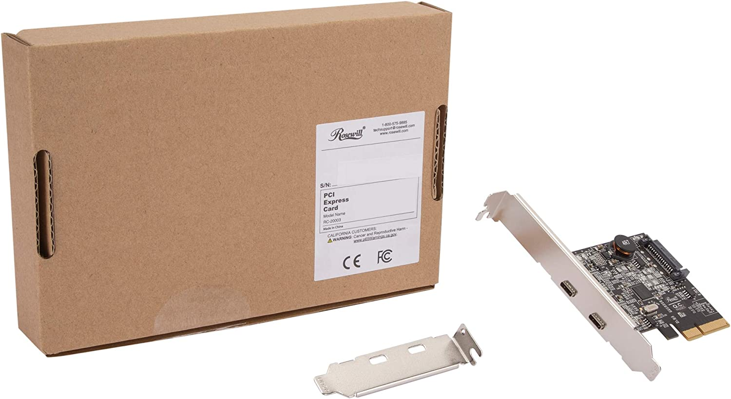 2 Type-C Rosewill RC-20003 PCIe 2 Ports USB 3.2 Gen 2 Host Adapter