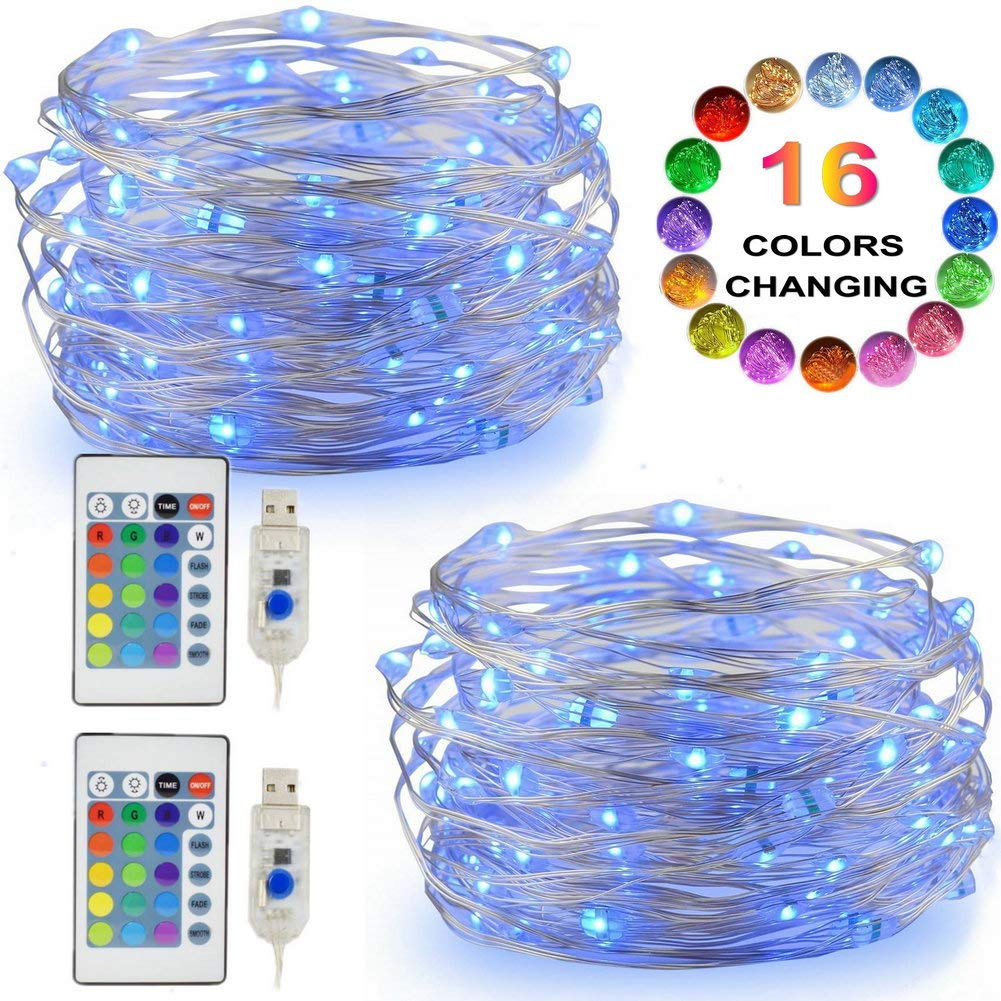 Amazoncom Led String Lights 2 Set Multi Color Changing Fairy