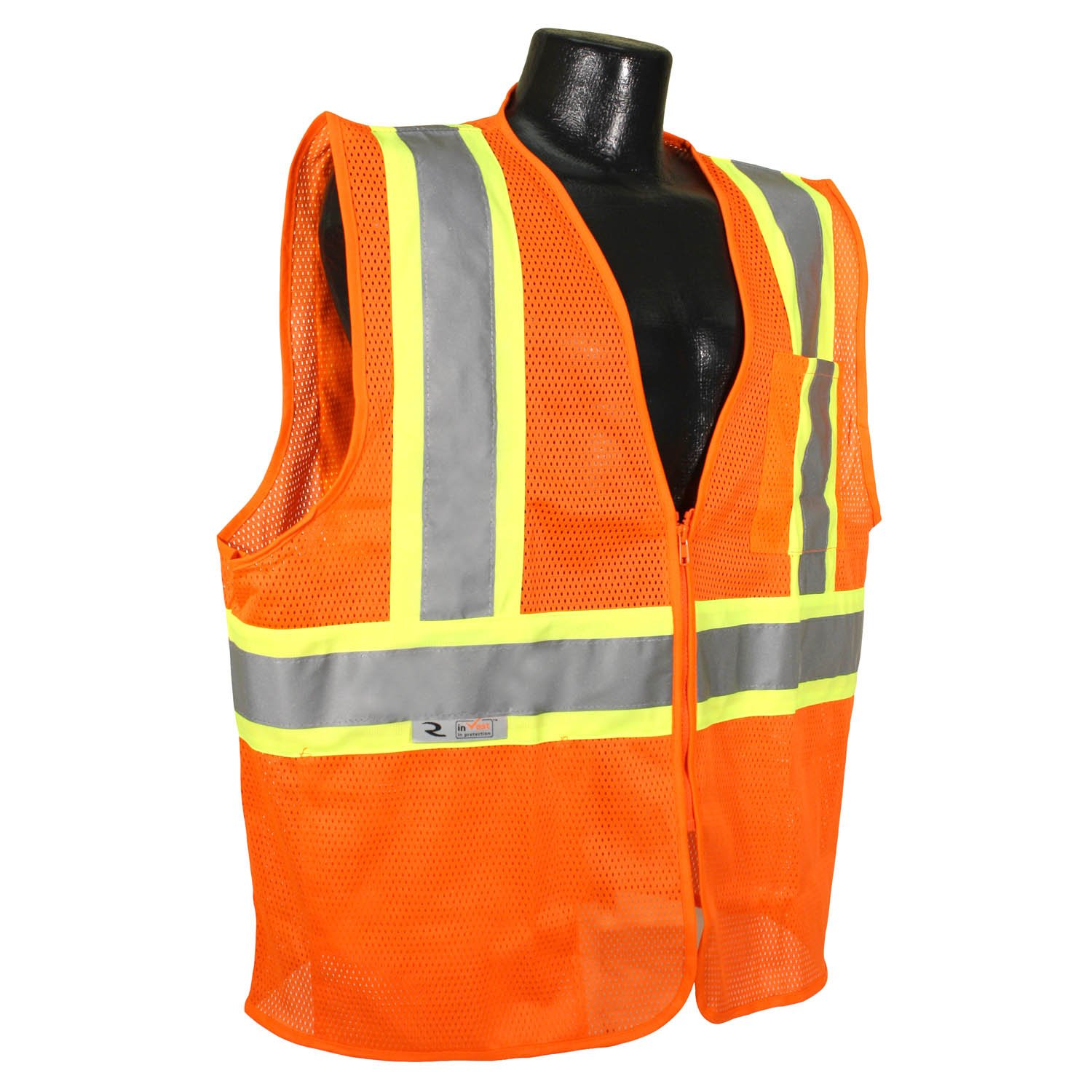 Orange Radians SV22-2ZOM-3X Polyester Mesh Economy Class 2 High Visibility Zipper Closure Vest with Two-Tone Trim 3X-Large