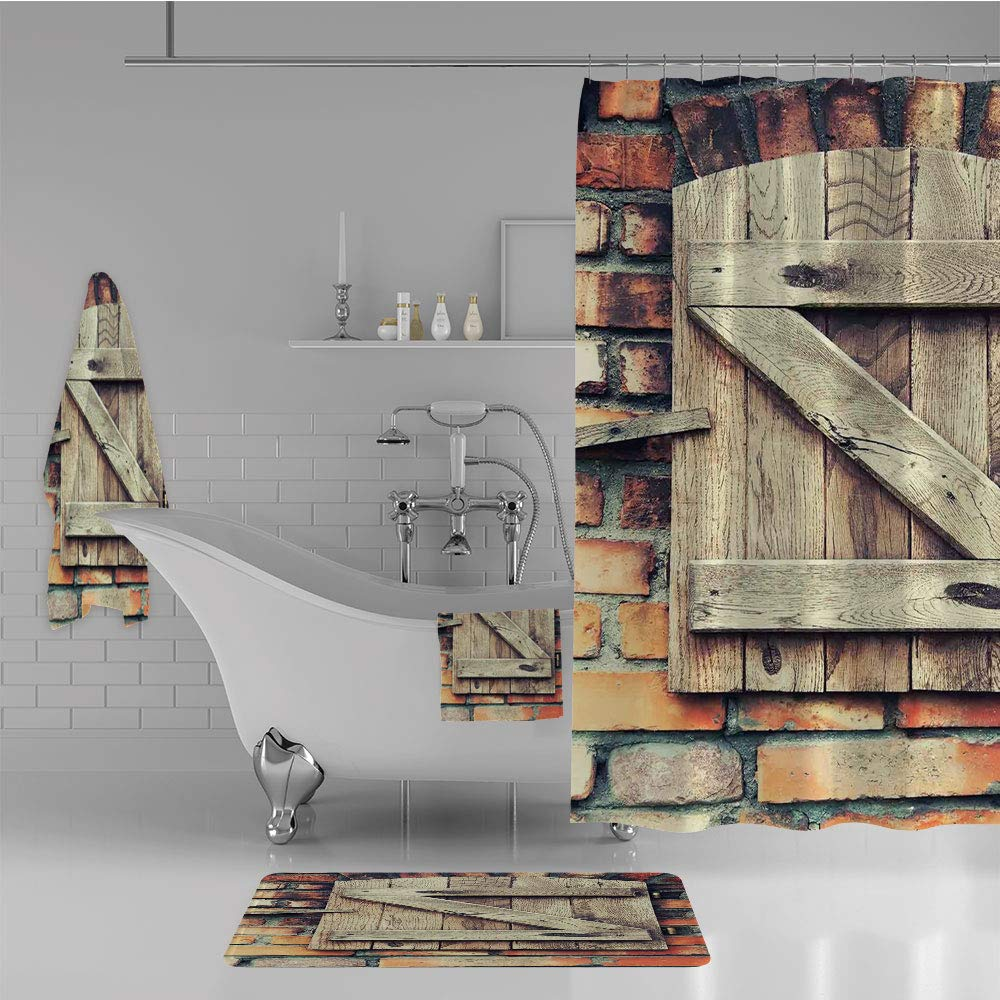 iPrint Bathroom 4 Piece Set Shower Curtain Floor mat Bath Towel 3D Print,Window of a Red Brick Country House Idyllic,Fashion Personality Customization adds Color to Your Bathroom.