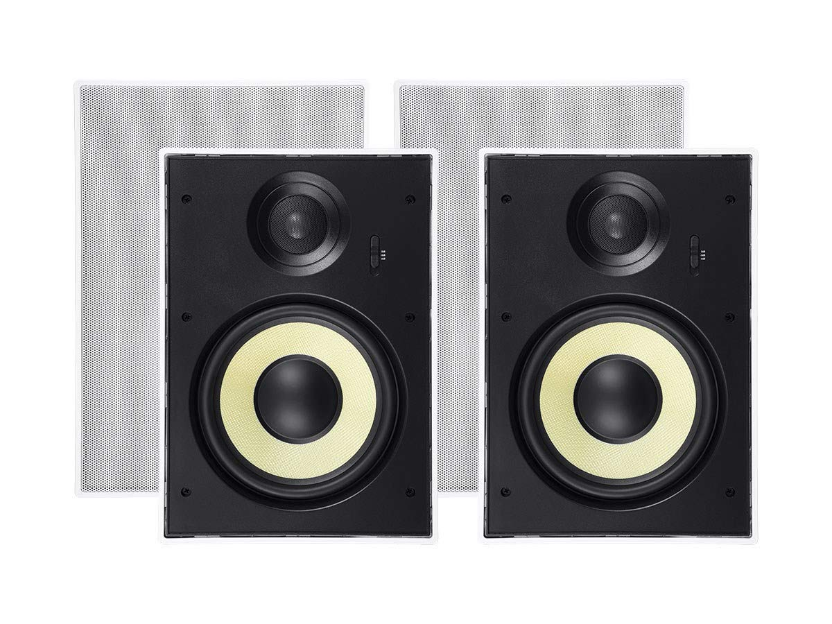 Monoprice 2 Way in-Wall Speakers - 6.5 Inch (Pair) with Aramid Fiber and Titanium Silk Drivers - Caliber Slim Series
