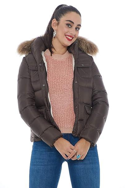 Museum Piumino Donna con Vera Pelliccia Blu XL: Amazon.it