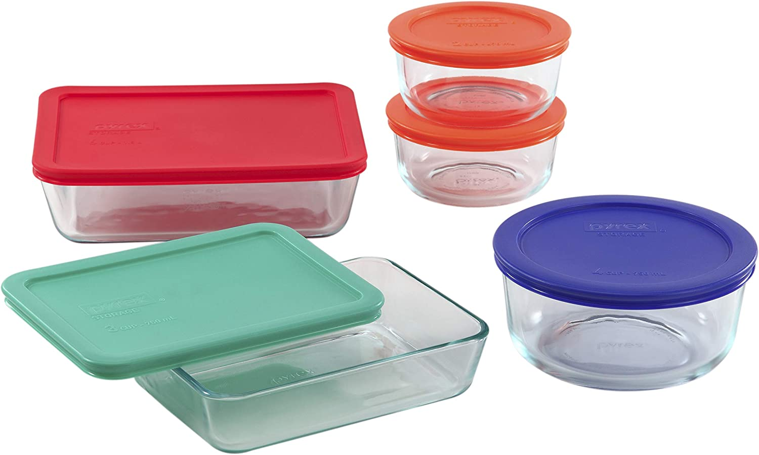 Pyrex Simply Store Meal Prep Glass Food Storage Containers (10-Piece Set, BPA Free Lids, Oven Safe)