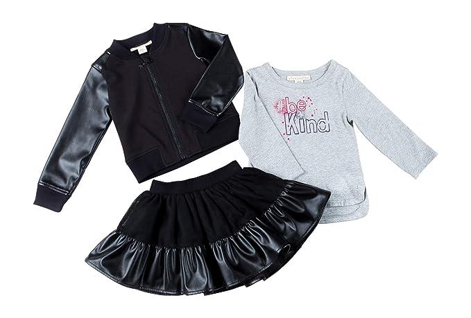 eb5ca0291 Amazon.com  Kinderkind Kids Toddler Girl Faux Leather Bomber Jacket ...