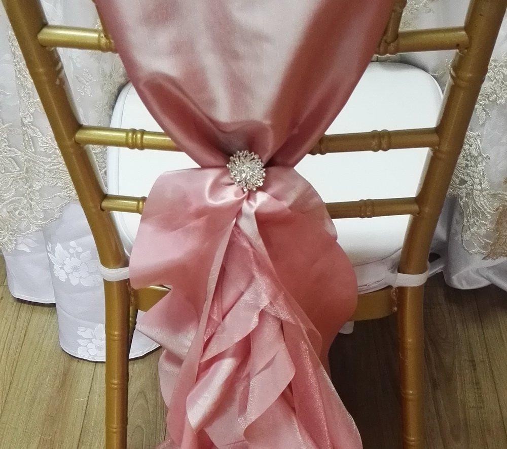 20個エレガントなタフタCurly Willow結婚式椅子カバーサッシwithブローチ   B077M5MBK1