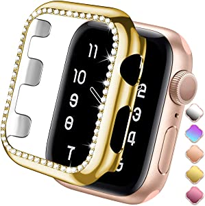 ZAROTO Case Compatible for Apple watch SE protector 38mm Series 3 2/1, Bling Crystal Diamond Sparkle Rhinestone Bumper Glitter Protective Plate Frame for Women Girl iWatch Face Cover Sparkle 38mm Gold