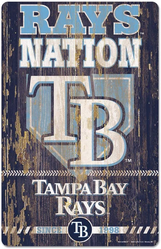 MLB Tampa Bay Devil Rays 11-By-17-Inch Killen Print Wood Sign