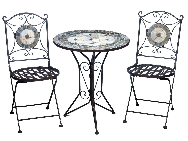 Garnitur Gartentisch 2 Stühle Eisen Fliesen Mosaik Garten Tisch Stuhl antik Stil