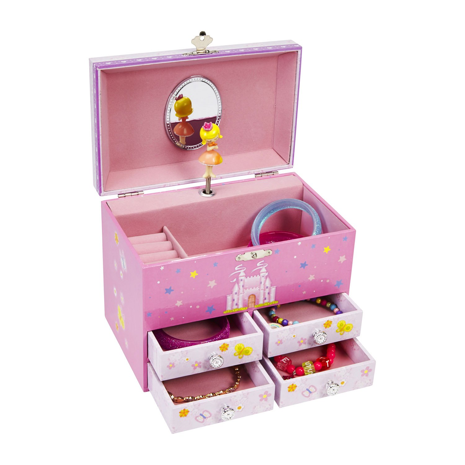 JewelKeeper Princess and a Castle Large Musical Jewelry Storage Box with 4 Pullout Drawers, Girl's Storage Case, The Spring Tune