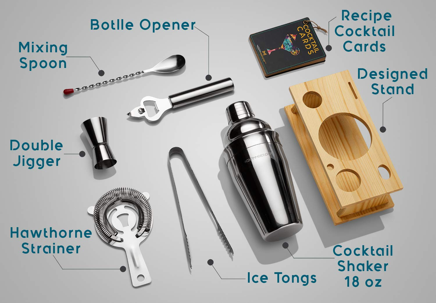 Mixology Bartender Kit with Stand | Bar Set Cocktail Shaker Set for Drink Mixing - Bar Tools: Martini Shaker, Jigger, Strainer, Bar Mixer Spoon, Tongs, Bottle Opener | Best Bartender Kit for Beginners by Modern Mixology (Image #6)