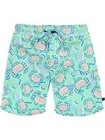 Men's Crab Print Swimming Trunks - Short Fitted Neon Swim Trunks