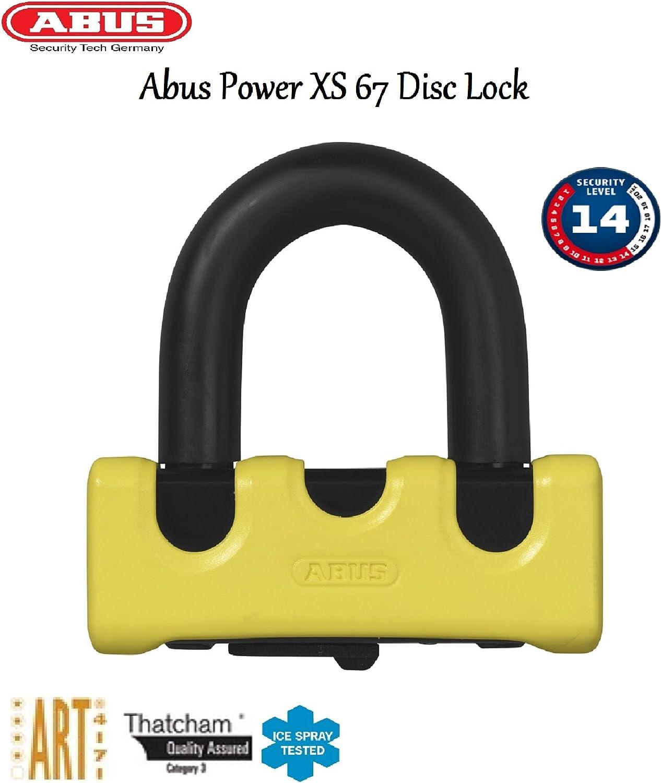 Abus Granit Power Xs 67 Disc Lock Motorrad Diebstahl Schutz 14 Mm Sicherheit Stahlbügelschloss Gelb Auto