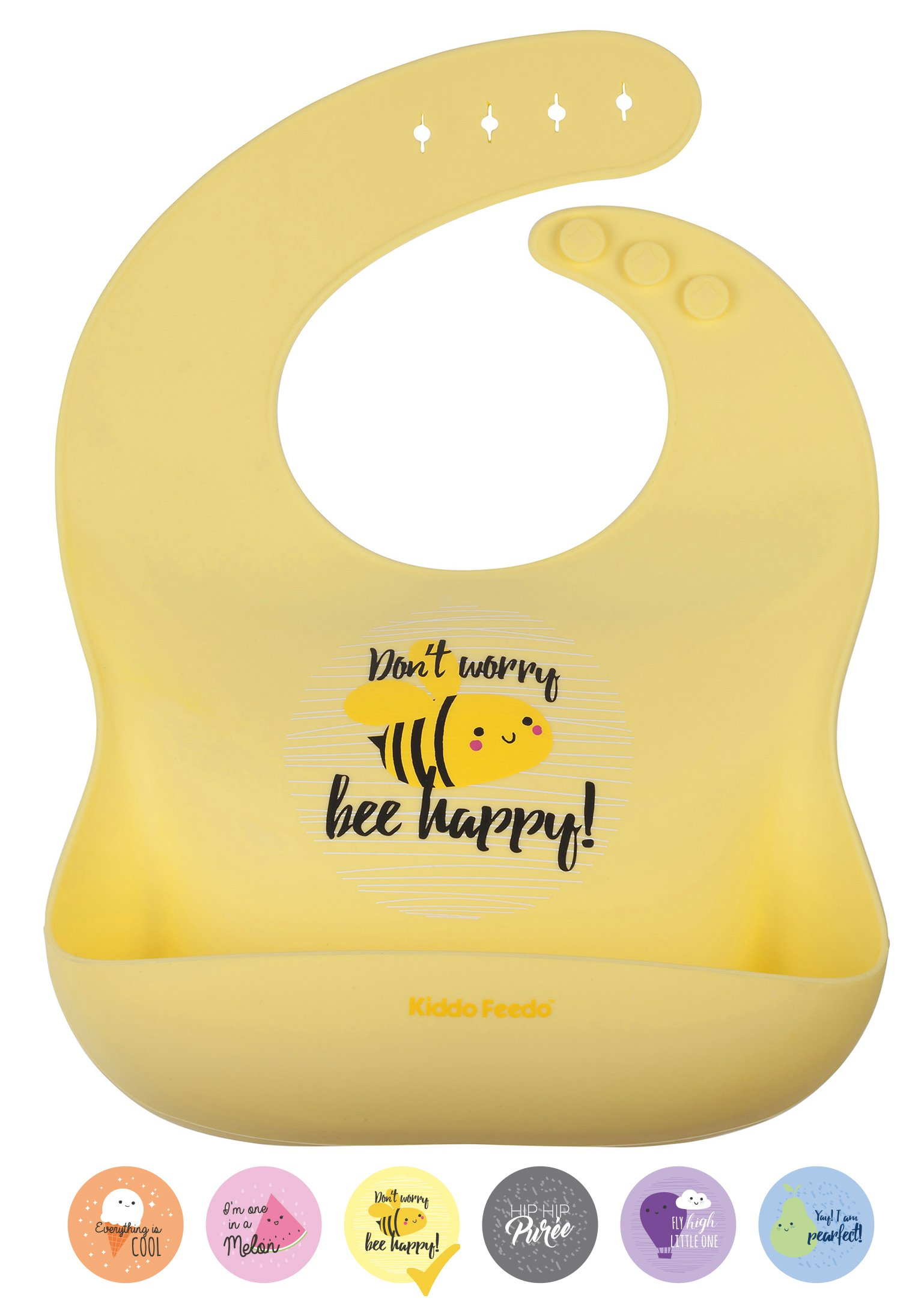 KIDDO FEEDO Feeding Bib with a Large Food Catcher Pocket - 6 Cute Designs Available - Portable, Waterproof and Easy-Clean - Yellow