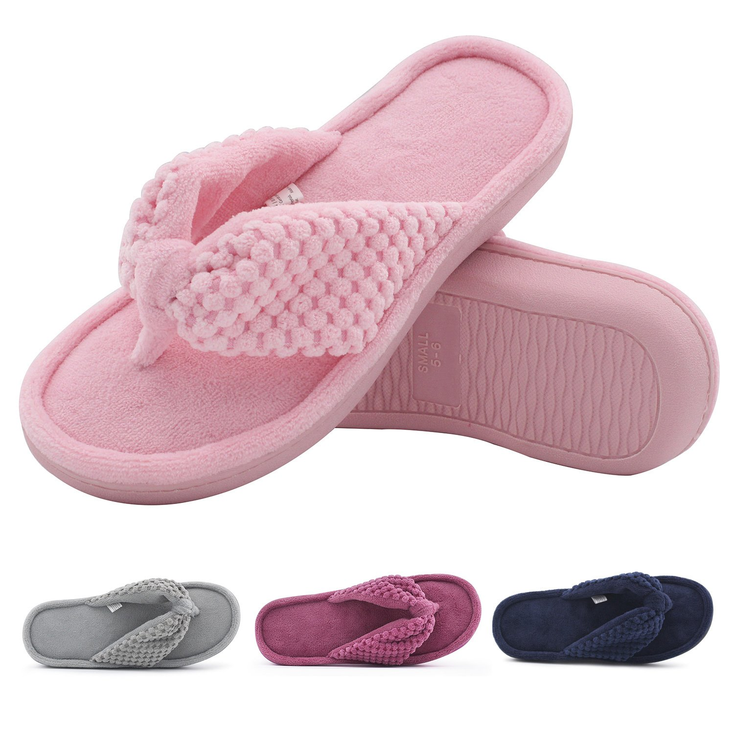 Women's Cozy Memory Foam Plush Gridding Velvet Lining Spa Thong Flip Flops Clog Style House Indoor Slippers (Small / 5-6 B(M) US, Pink)