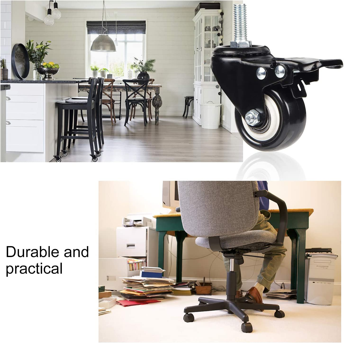 AMIGOB 4 pcs Castpr Wheels 50mm Heavy Duty Rubber Swivel Industrial Caster with Brakes Moving Caster Wheels