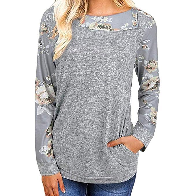 Yvelands Blusa Estampada Floral para Mujer, Camisas de Manga Larga para Mujer Ocasionales Pullover Sweatshirt
