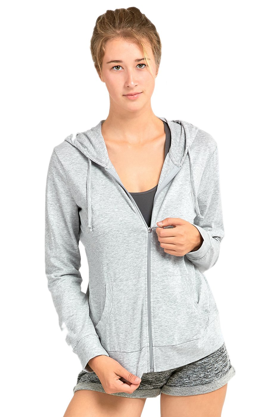 Sofra Women's Thin Cotton Zip Up Hoodie Jacket (S, Heather Gray)