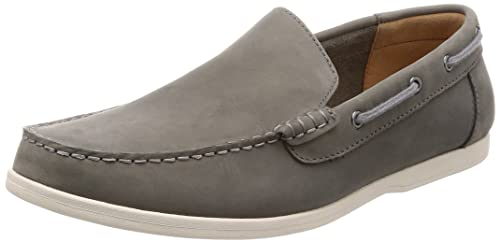274a95832060f Clarks Mens Morven Sun Dark Grey Nubuck Slip On Leather Loafers Shoes Size 8