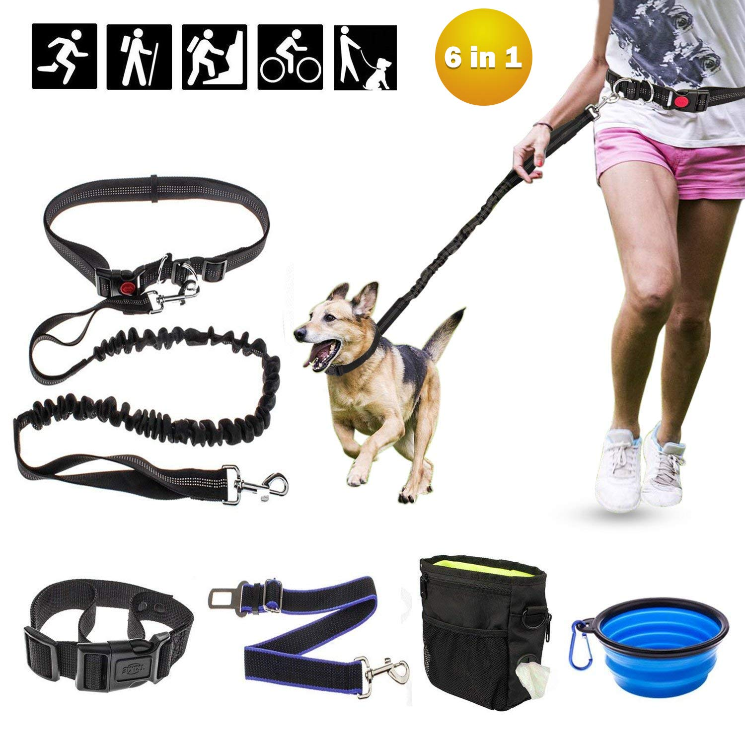 Ocathnon Hands Free Dog Leash Bungee Buffer 2 Padded Handles with Waistband, Dog Collar, Dog Seatbelt, Collapsible Dog Bowl, Training Treats Pouch with Bag Dispenser for Running, Walking, Hiking by Ocathnon