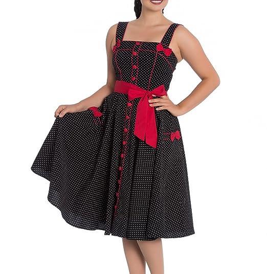 Hell Bunny Rockabilly Pinup Martie 50s Dress Polka Dot Black Red Bow S 10 507cbe72d