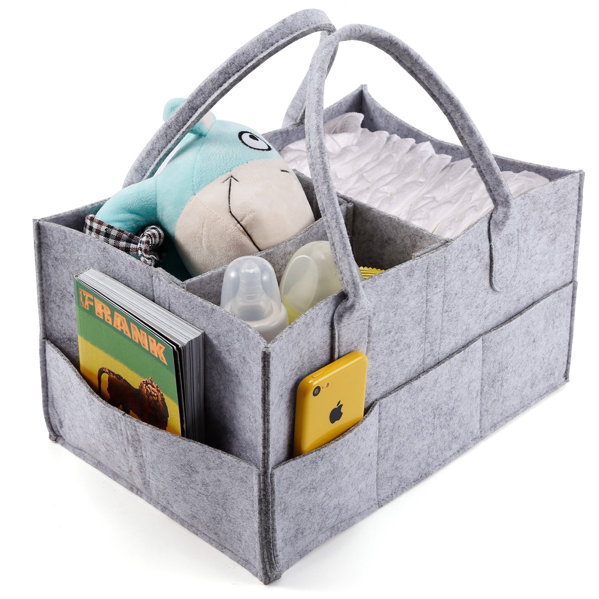 Anladia 3 Compartments Portable Baby Organizer Bag Diaper Nappy Bottle Changing Divider Storage Handbag Grey