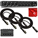 Behringer UMC404HD Audio Interface 4-Channel Bundle with HA400 4-Channel Headphone Amplifier and 3X Monoprice Gold Plated 10' XLR Cables with Microfiber Cleaning Cloth