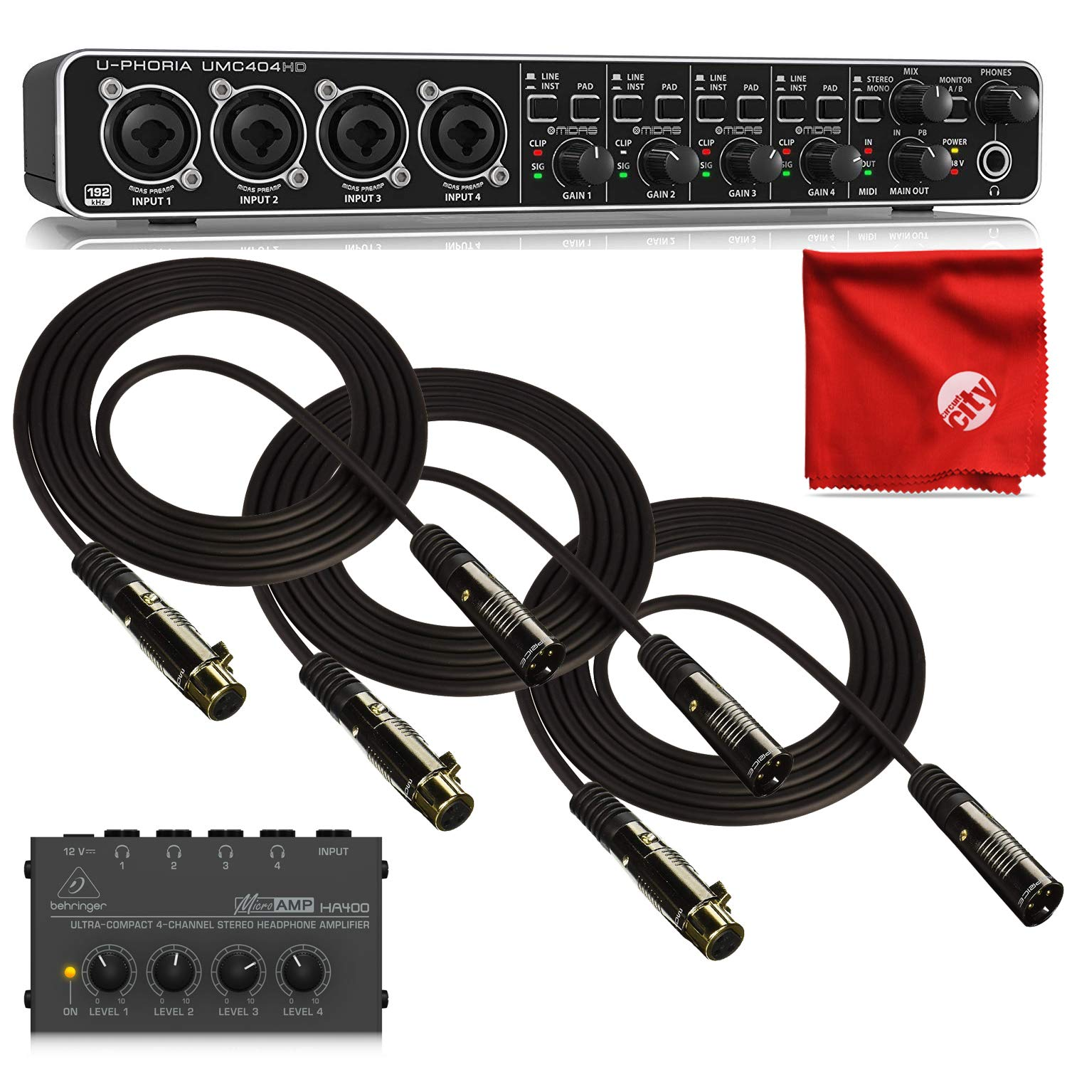 Behringer UMC404HD Audio Interface 4-Channel Bundle with HA400 4-Channel Headphone Amplifier and 3X Monoprice Gold Plated 10ft XLR Cables with Microfiber Cleaning Cloth by Circuit City (Image #1)
