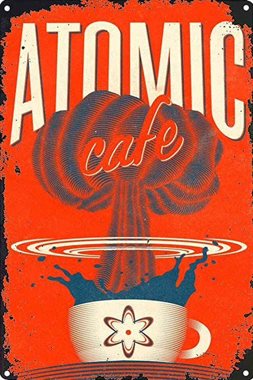 HiSign Atomic Cafe Retro Cartel de Chapa Coffee Póster Bar ...
